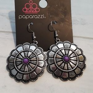 Paparazzi silver and purple (color) earring